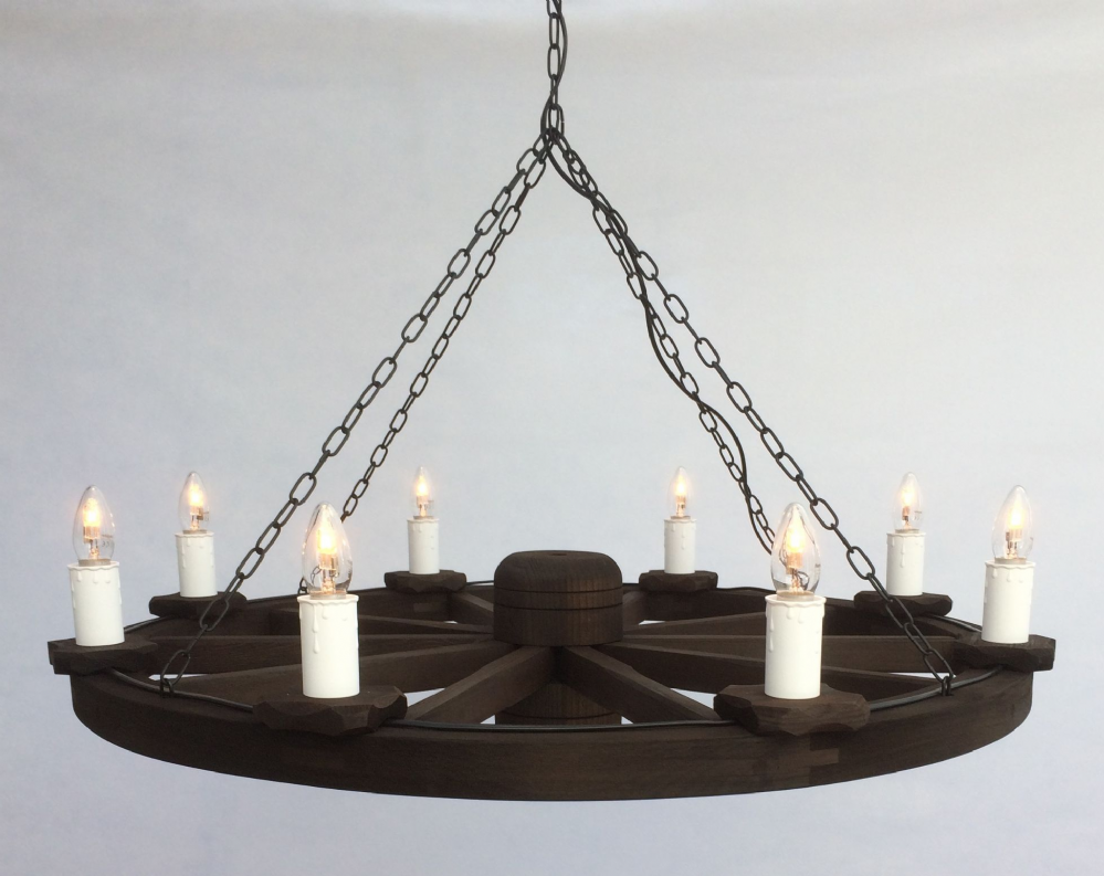 8-Light Rustic Wooden Cartwheel Pendant Ceiling Light